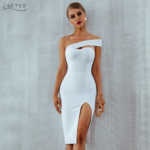 Adyce Bodycon Bandage Dress Women Vestidos Verano 2019 Summer Sexy Elegant White Black One Shoulder Midi Celebrity Party Dresses-hipnfly-White-L-hipnfly