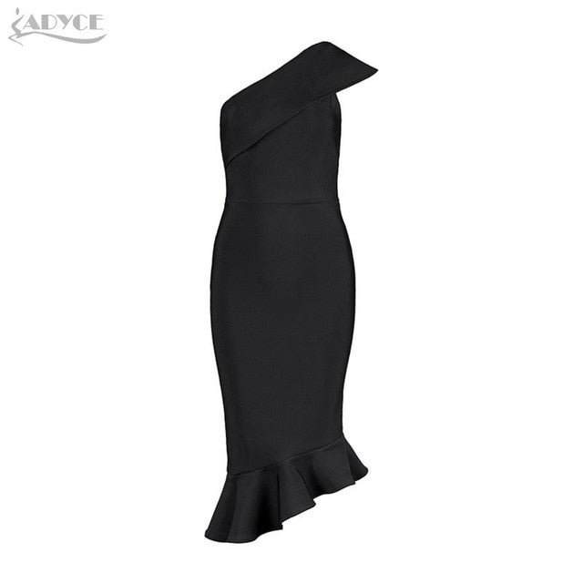 Adyce 2019 New Summer Women Bandage Dress Vestidos One Shoulder Sleeveless Ruffles Nightclub Dress Celebrity Evening Party Dress-hipnfly-Black-L-hipnfly