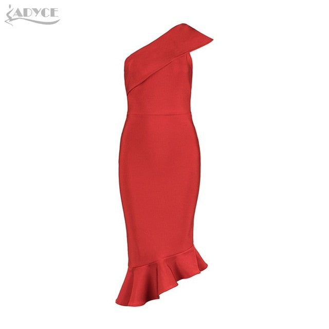 Adyce 2019 New Summer Women Bandage Dress Vestidos One Shoulder Sleeveless Ruffles Nightclub Dress Celebrity Evening Party Dress-hipnfly-Red-L-hipnfly