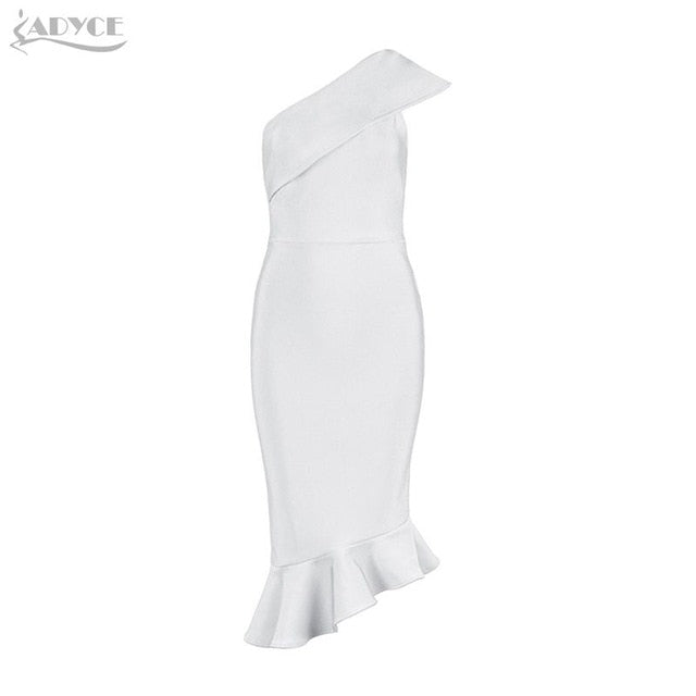Adyce 2019 New Summer Women Bandage Dress Vestidos One Shoulder Sleeveless Ruffles Nightclub Dress Celebrity Evening Party Dress-hipnfly-White-L-hipnfly