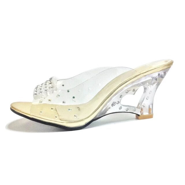TAOFFEN Size 30-43 New Summer Sandals Women Peep Open Toe Wedge Sandals Slip On Sweet Jelly Shoes Woman Summer Shoes For Lady-hipnfly-Gold-3-hipnfly