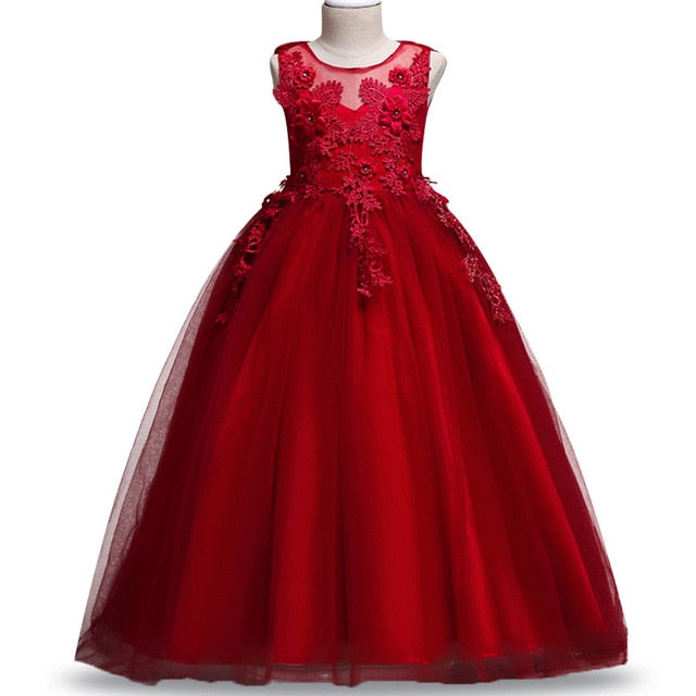 4-14Y Lace Teenagers Kids Girls Wedding Long Dress elegant Princess Party Pageant Christmas Formal Sleeveless Dress Clothes-hipnfly-as picture 3-4T-hipnfly