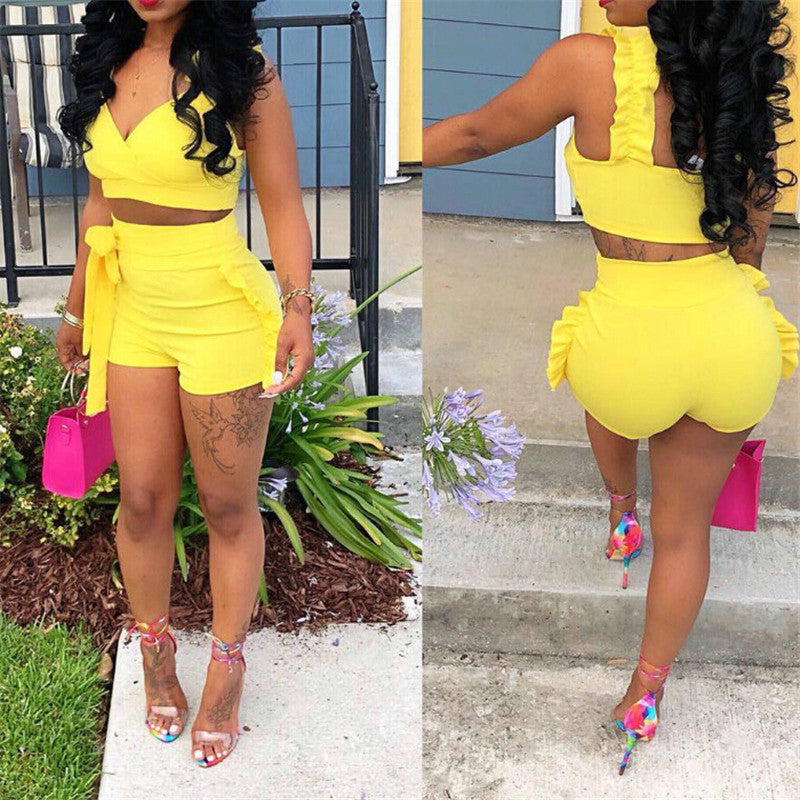 Two Piece Set 2019 Summer women crop tops High Waist Shorts 2pcs Ruffles Bow outfits Ladies Yellow Slim matching Clothes sets-hipnfly-hipnfly