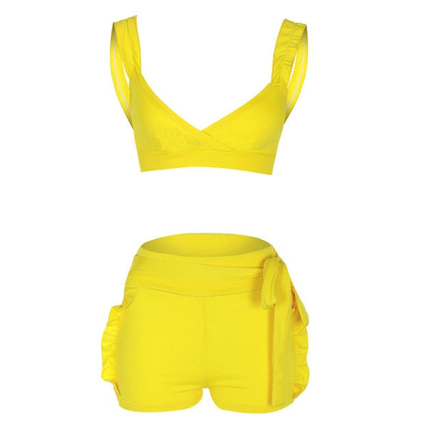 Two Piece Set 2019 Summer women crop tops High Waist Shorts 2pcs Ruffles Bow outfits Ladies Yellow Slim matching Clothes sets-hipnfly-Yellow-S-hipnfly