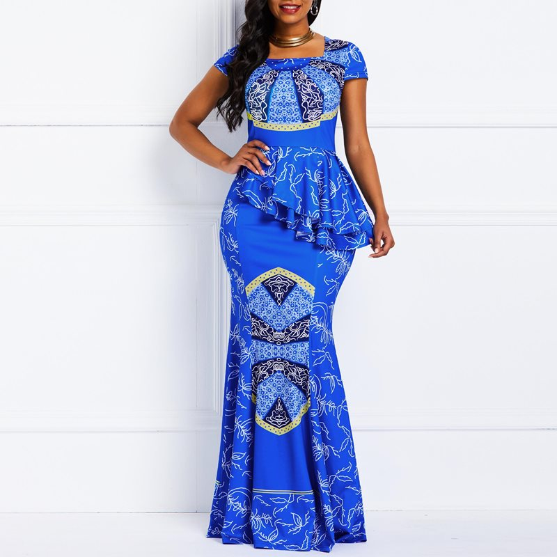 Women Maxi Dresses Casual Elegant Blue Office Lady Party Mermaid Square Neck High Waist Falbala Print Female Plus Size Dress-hipnfly-hipnfly