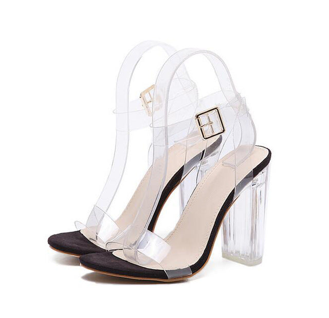 Eilyken 2019 PVC Jelly Sandals Crystal Leopard Open Toed High Heels Women Transparent Heel Sandals Slippers Discount Pumps 11CM-hipnfly-BLACK-4-hipnfly