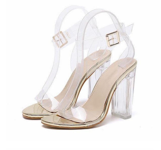 Eilyken 2019 PVC Jelly Sandals Crystal Leopard Open Toed High Heels Women Transparent Heel Sandals Slippers Discount Pumps 11CM-hipnfly-golden-4-hipnfly