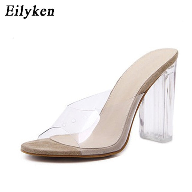 Eilyken 2019 PVC Jelly Sandals Crystal Leopard Open Toed High Heels Women Transparent Heel Sandals Slippers Discount Pumps 11CM-hipnfly-apricot 2-4-hipnfly