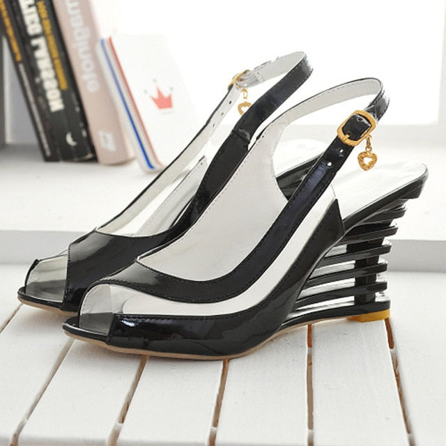Taoffen 2019 New Women Heel Sandals Buckle Open Toe High Wedge Shoes Women's Summer Shoes Sexy Women Shoes Footwear Size 34-43-hipnfly-Black-3-hipnfly