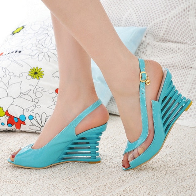 Taoffen 2019 New Women Heel Sandals Buckle Open Toe High Wedge Shoes Women's Summer Shoes Sexy Women Shoes Footwear Size 34-43-hipnfly-Blue-3-hipnfly