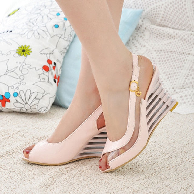 Taoffen 2019 New Women Heel Sandals Buckle Open Toe High Wedge Shoes Women's Summer Shoes Sexy Women Shoes Footwear Size 34-43-hipnfly-Pink-3-hipnfly