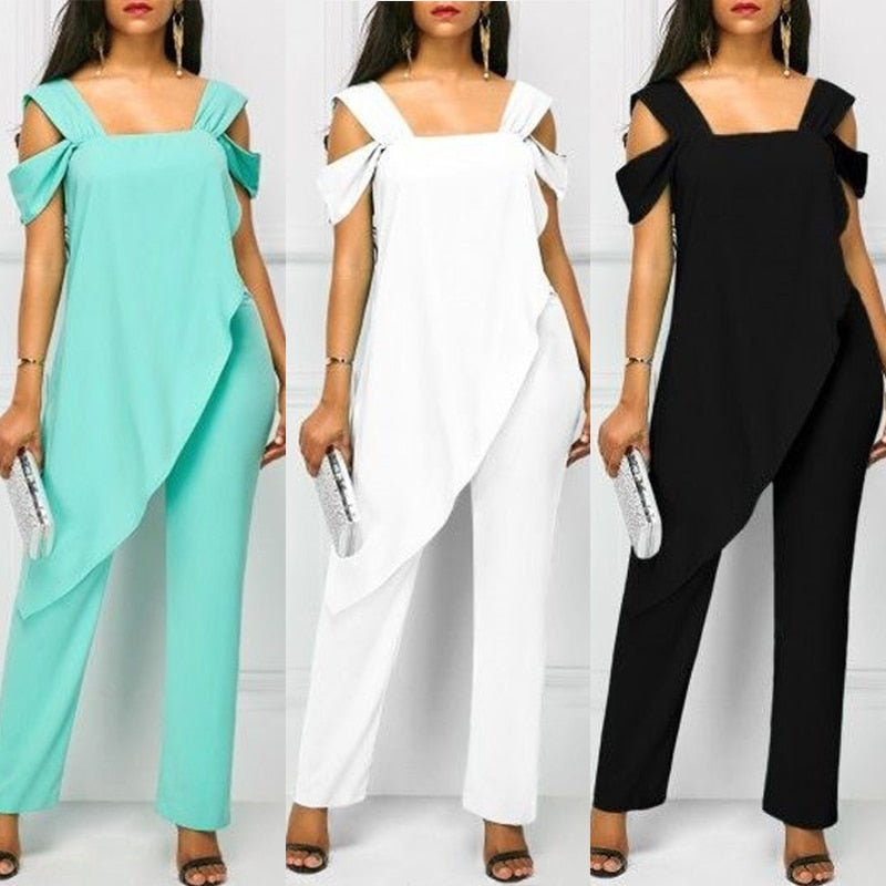 Plus Size 5XL Women's Fashion High Waist Slim Sleeveless Jumpsuits Casual Chiffon Irregular Pencil Jumpsuit Rompers-hipnfly-hipnfly
