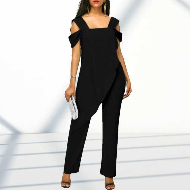Plus Size 5XL Women's Fashion High Waist Slim Sleeveless Jumpsuits Casual Chiffon Irregular Pencil Jumpsuit Rompers-hipnfly-Black-XXL-hipnfly