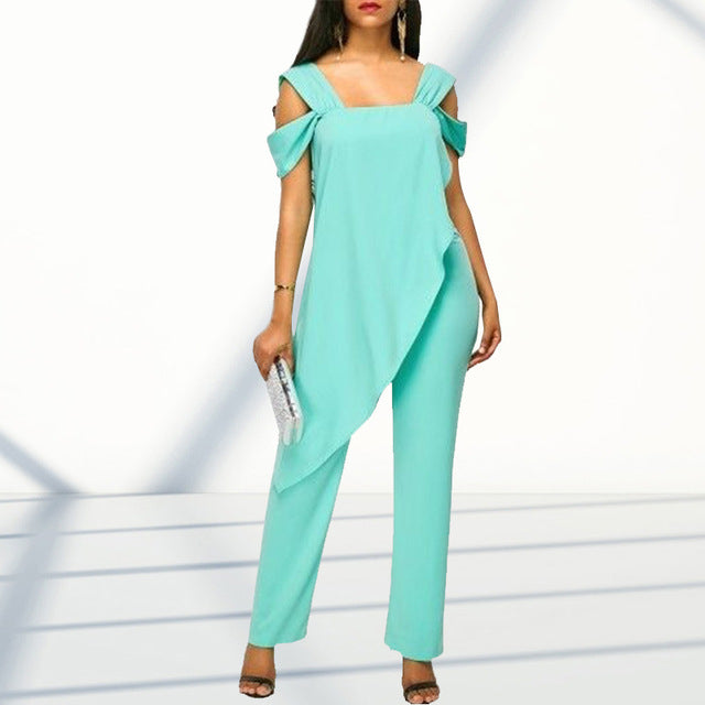 Plus Size 5XL Women's Fashion High Waist Slim Sleeveless Jumpsuits Casual Chiffon Irregular Pencil Jumpsuit Rompers-hipnfly-Turquoise-L-hipnfly
