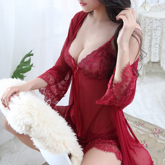 HOT Plus Size Sexy Lingerie Baby Doll Chemises For Women Underwear Ladies Lace Transparent Erotic Lingerie Conjoined Dress Suit-hipnfly-Wine-L-hipnfly