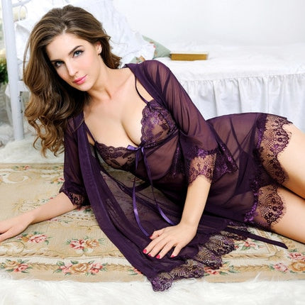 HOT Plus Size Sexy Lingerie Baby Doll Chemises For Women Underwear Ladies Lace Transparent Erotic Lingerie Conjoined Dress Suit-hipnfly-Dark Purple-L-hipnfly