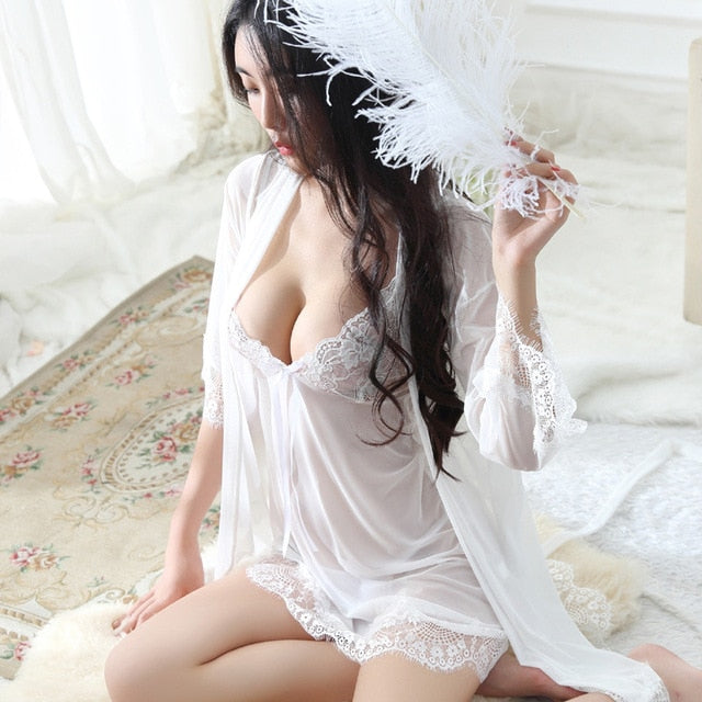 HOT Plus Size Sexy Lingerie Baby Doll Chemises For Women Underwear Ladies Lace Transparent Erotic Lingerie Conjoined Dress Suit-hipnfly-White-L-hipnfly