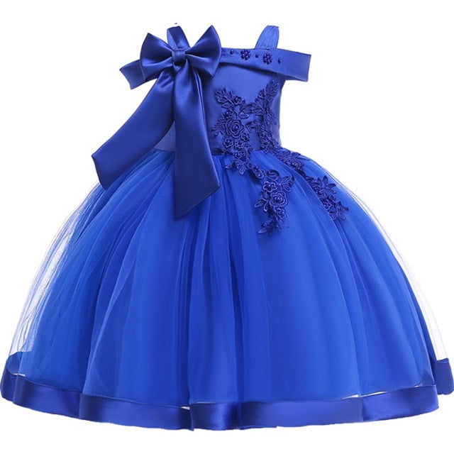 Baby Girls Flower Silk Princess Dress for Wedding Party Children Big Bow Tutu Kids Dresses for Toddler Fashion Night gown girls-hipnfly-Blue-3T-hipnfly
