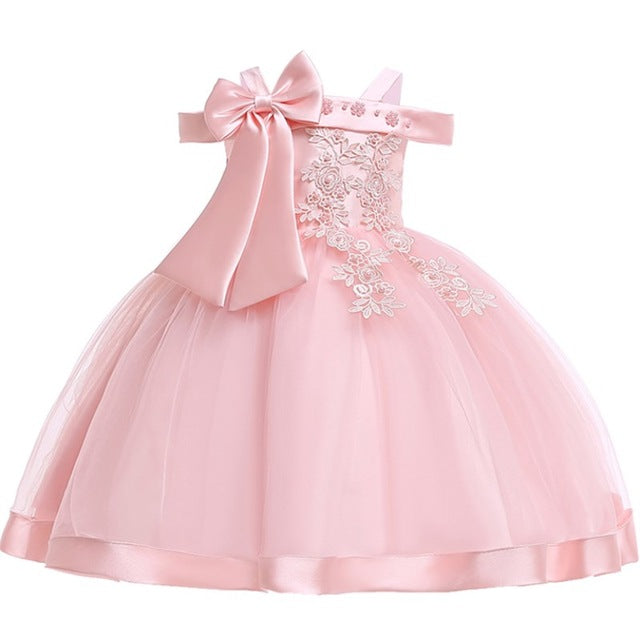 Baby Girls Flower Silk Princess Dress for Wedding Party Children Big Bow Tutu Kids Dresses for Toddler Fashion Night gown girls