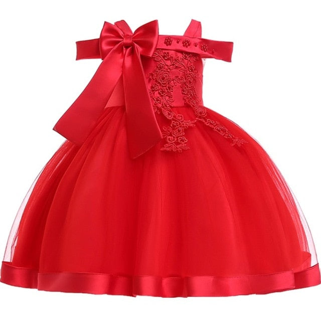 Baby Girls Flower Silk Princess Dress for Wedding Party Children Big Bow Tutu Kids Dresses for Toddler Fashion Night gown girls-hipnfly-Red-3T-hipnfly