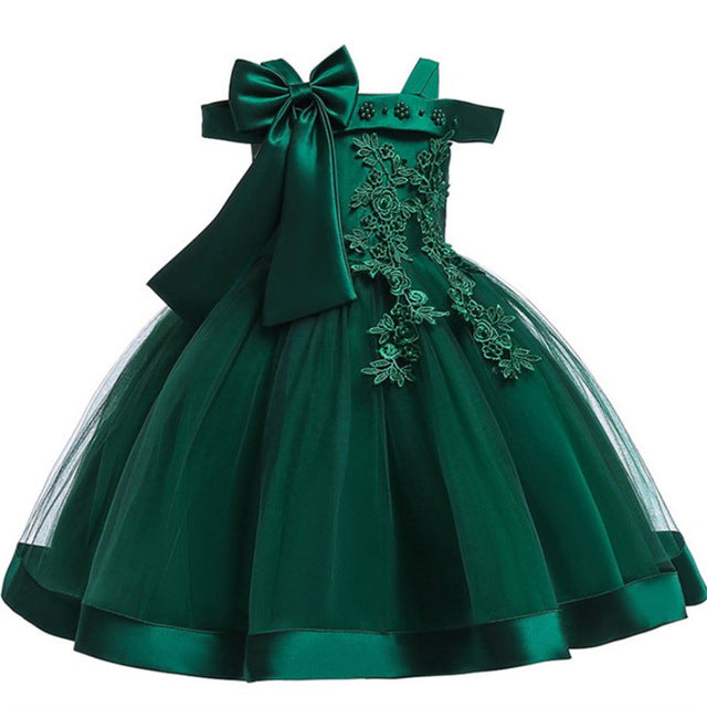 Baby Girls Flower Silk Princess Dress for Wedding Party Children Big Bow Tutu Kids Dresses for Toddler Fashion Night gown girls-hipnfly-Green-3T-hipnfly