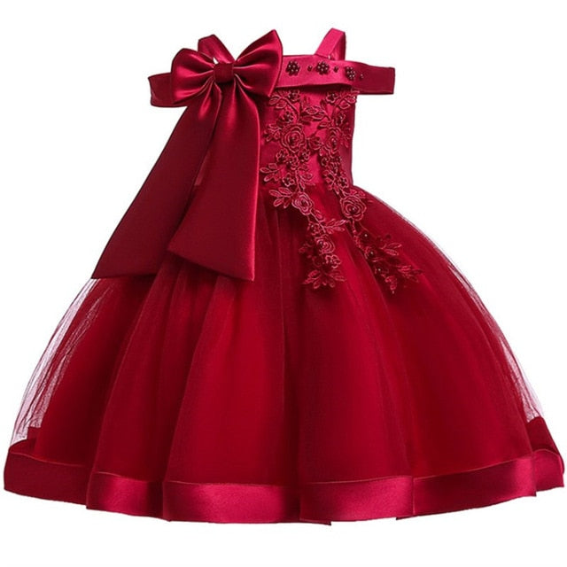 Baby Girls Flower Silk Princess Dress for Wedding Party Children Big Bow Tutu Kids Dresses for Toddler Fashion Night gown girls-hipnfly-WineRed-3T-hipnfly