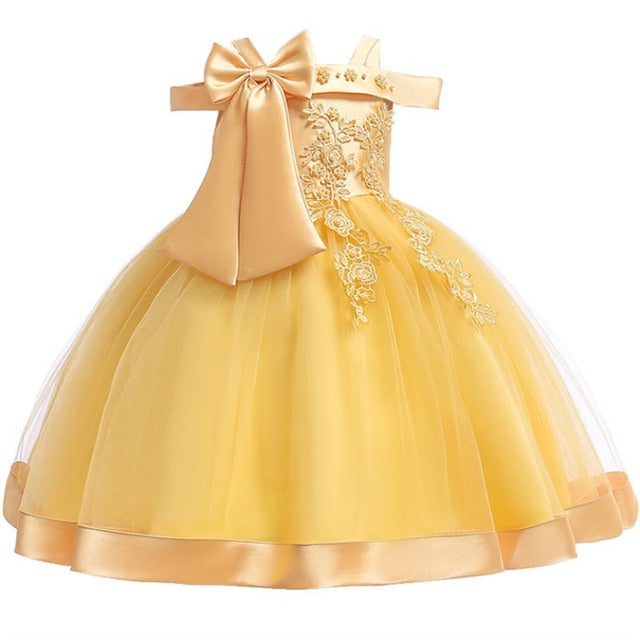 Baby Girls Flower Silk Princess Dress for Wedding Party Children Big Bow Tutu Kids Dresses for Toddler Fashion Night gown girls-hipnfly-Yellow-3T-hipnfly