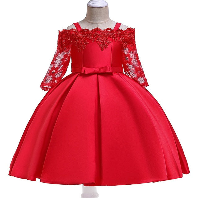Summer Girls floral Princess party Dresses Costume Kids Girls clothes wedding birthday For Girls Dress tutu baby Girls clothing-hipnfly-red-3T-hipnfly