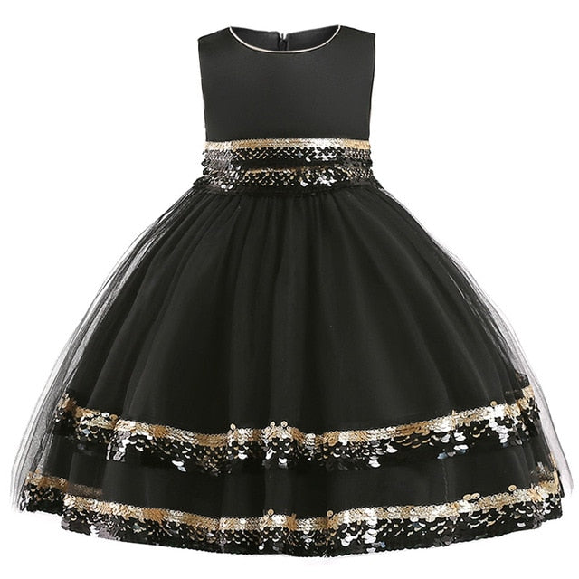 baby christmas dress sequin dress girl floral princess party dress kids birthday wedding dress children clothing kids clothes-hipnfly-Black-3T-hipnfly