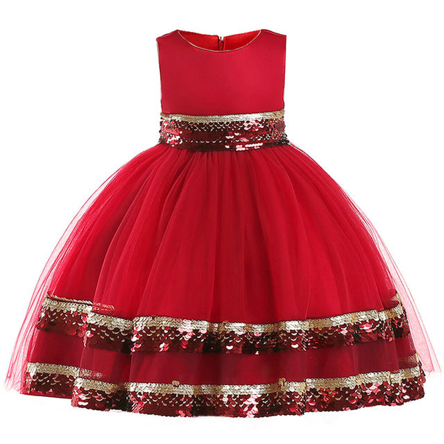 baby christmas dress sequin dress girl floral princess party dress kids birthday wedding dress children clothing kids clothes-hipnfly-Red-3T-hipnfly