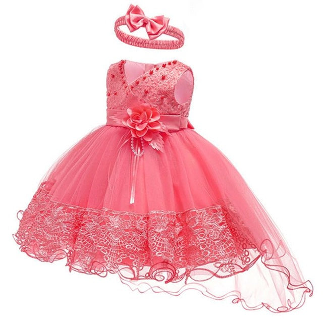 2019 Summer Easter Baby Girl Clothes Wedding Newborn Dress For Girl Princess Dress Infant 1 Year First Birthday Girl Party Dress-hipnfly-Watermelon Red-3M-hipnfly