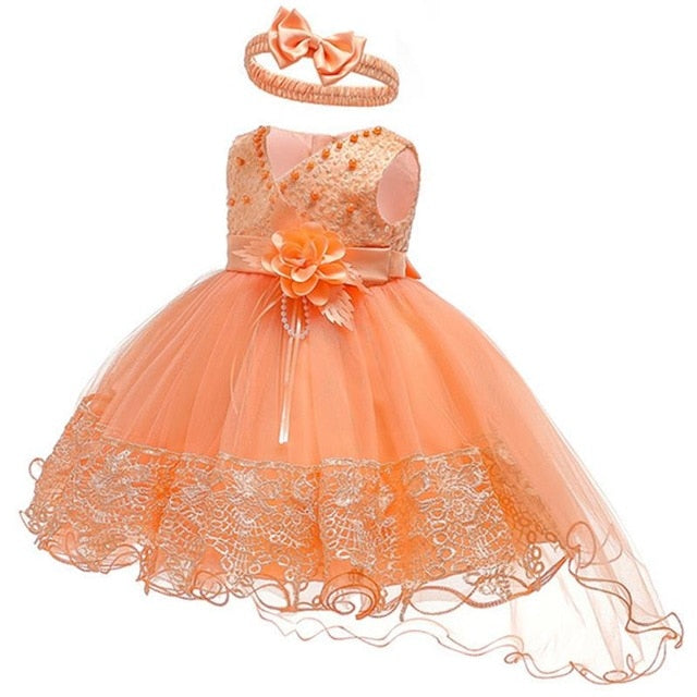 2019 Summer Easter Baby Girl Clothes Wedding Newborn Dress For Girl Princess Dress Infant 1 Year First Birthday Girl Party Dress-hipnfly-Orange-3M-hipnfly