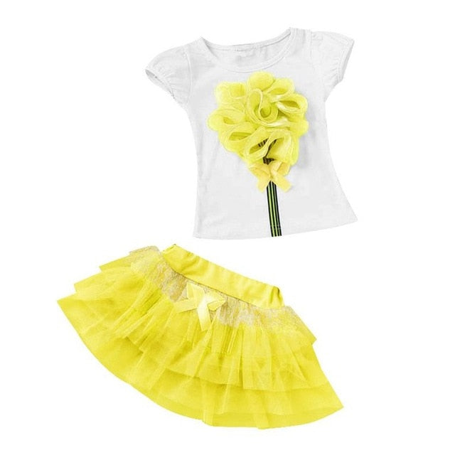 2019 Summer Clothing Baby Toddler Girls Dress Sport Suits For Girls 2 Piece Set Clothes Tshirt +Skirts Kids Clothes 2 7 8 Years