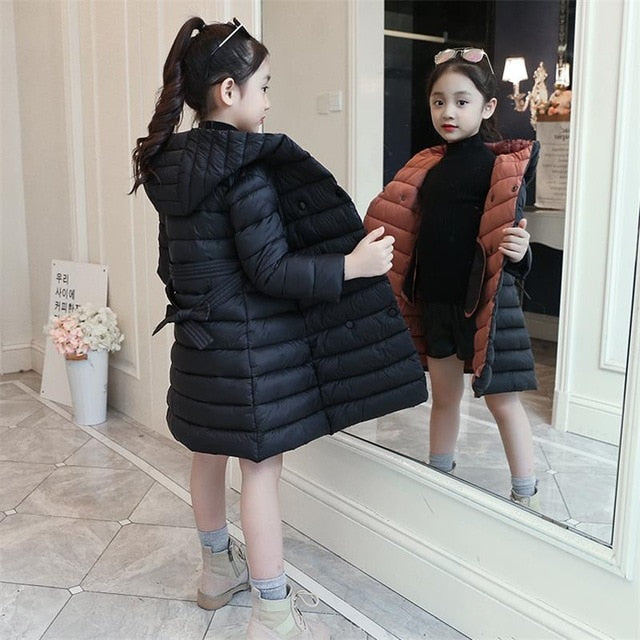 2019 Thick Winter Autumn Girls Clothes Long Denim Jacket For Girls Coat Kids Clothes Outerwear Hooded Children Clothing 12 Years