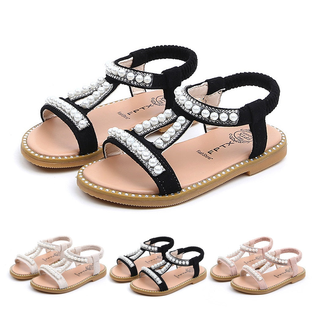 Summer Baby Girls Shoes Toddler Infant Kids Pearl Crystal Single Princess Roman Shoes Sandals For Children Girl Black-hipnfly-hipnfly
