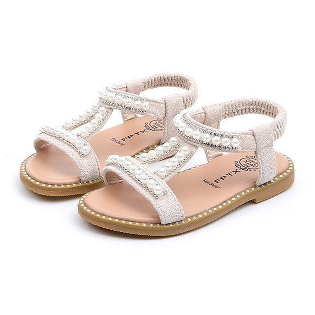 Summer Baby Girls Shoes Toddler Infant Kids Pearl Crystal Single Princess Roman Shoes Sandals For Children Girl Black-hipnfly-Beige-5.5-China-hipnfly