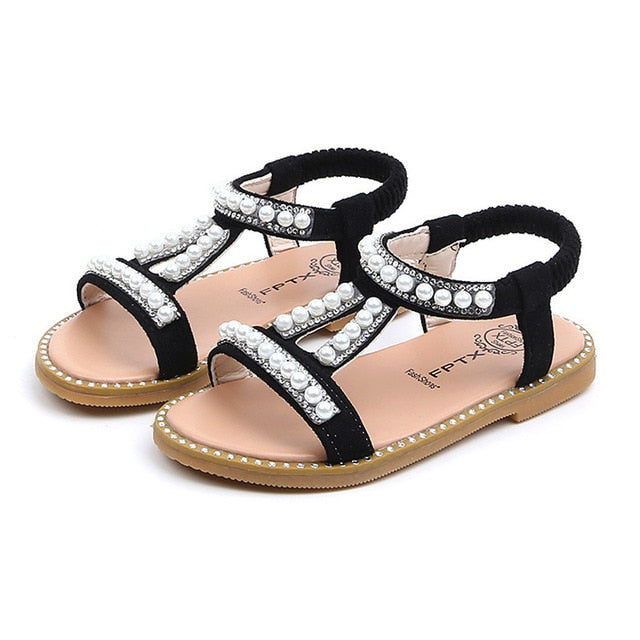 Summer Baby Girls Shoes Toddler Infant Kids Pearl Crystal Single Princess Roman Shoes Sandals For Children Girl Black-hipnfly-Black-5.5-China-hipnfly