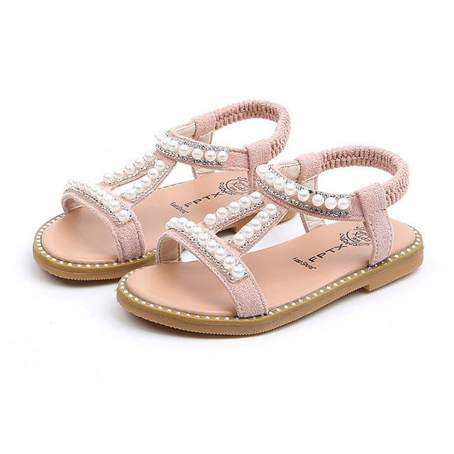 Summer Baby Girls Shoes Toddler Infant Kids Pearl Crystal Single Princess Roman Shoes Sandals For Children Girl Black