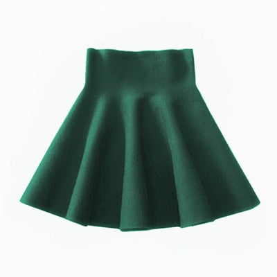 2019 Spring Autumn New Women Skirt Knitting Woolen Midi Skirt Ladies High Waist Casual Pleated Elastic Flared Skirts Womens-hipnfly-Green-One Size-hipnfly