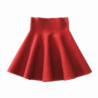 2019 Spring Autumn New Women Skirt Knitting Woolen Midi Skirt Ladies High Waist Casual Pleated Elastic Flared Skirts Womens-hipnfly-Red-One Size-hipnfly