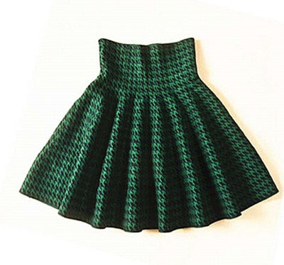 2019 Spring Autumn New Women Skirt Knitting Woolen Midi Skirt Ladies High Waist Casual Pleated Elastic Flared Skirts Womens-hipnfly-Houndstooth green-One Size-hipnfly