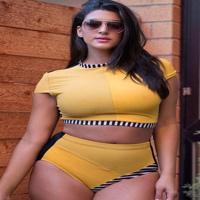 Bikini Plus Size Swimwear Women Large Size Patchwork Crop Top Push Up Swimsuits Bikini Set High Waist Bottom Bathing Suit Ladies-hipnfly-yellow-4XL-hipnfly