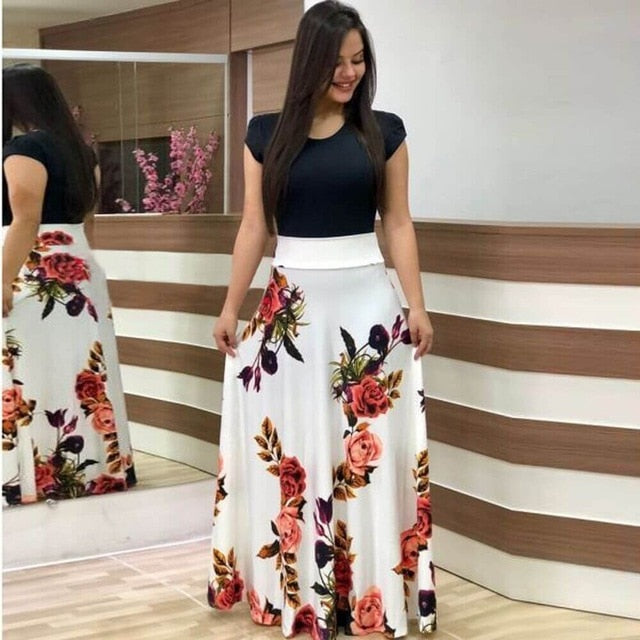 Women Dress Short Sleeves O Neck Patchwork Women Dresses Floral Printed Draped Vestidos Female Long Maxi Dress Casual Robe-hipnfly-short sleeve 5-S-hipnfly