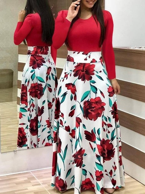 Women Dress Short Sleeves O Neck Patchwork Women Dresses Floral Printed Draped Vestidos Female Long Maxi Dress Casual Robe-hipnfly-long sleeve 8-S-hipnfly