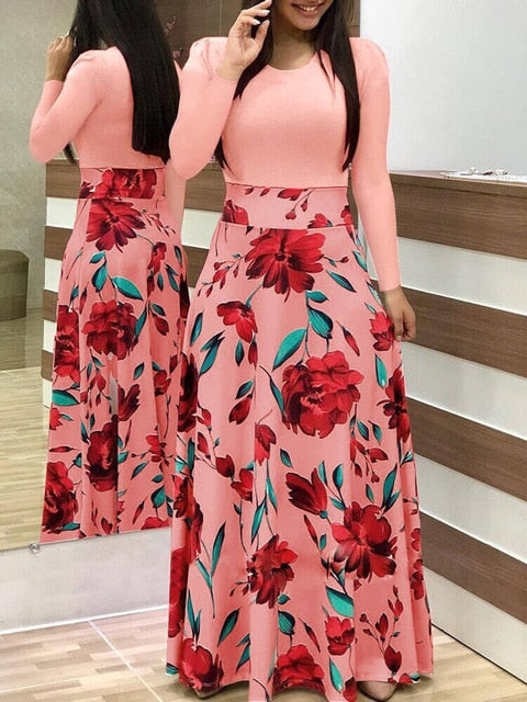 Women Dress Short Sleeves O Neck Patchwork Women Dresses Floral Printed Draped Vestidos Female Long Maxi Dress Casual Robe-hipnfly-long sleeve 9-S-hipnfly