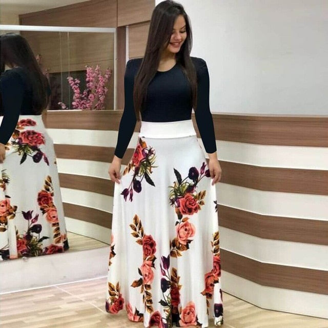 Women Dress Short Sleeves O Neck Patchwork Women Dresses Floral Printed Draped Vestidos Female Long Maxi Dress Casual Robe-hipnfly-long sleeve 12-S-hipnfly