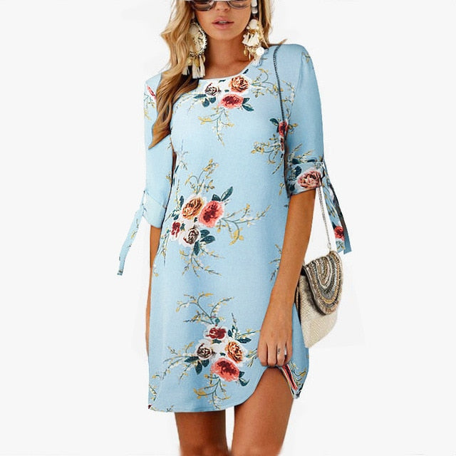 2019 Women Summer Dress Boho Style Floral Print Chiffon Beach Dress Tunic Sundress Loose Mini Party Dress Vestidos Plus Size 5XL-hipnfly-Sky Blue-S-hipnfly