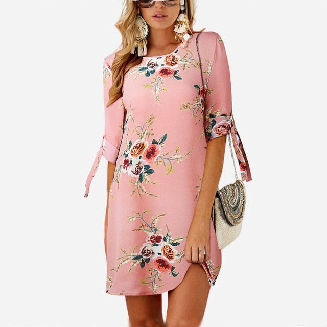 2019 Women Summer Dress Boho Style Floral Print Chiffon Beach Dress Tunic Sundress Loose Mini Party Dress Vestidos Plus Size 5XL-hipnfly-Pink-S-hipnfly