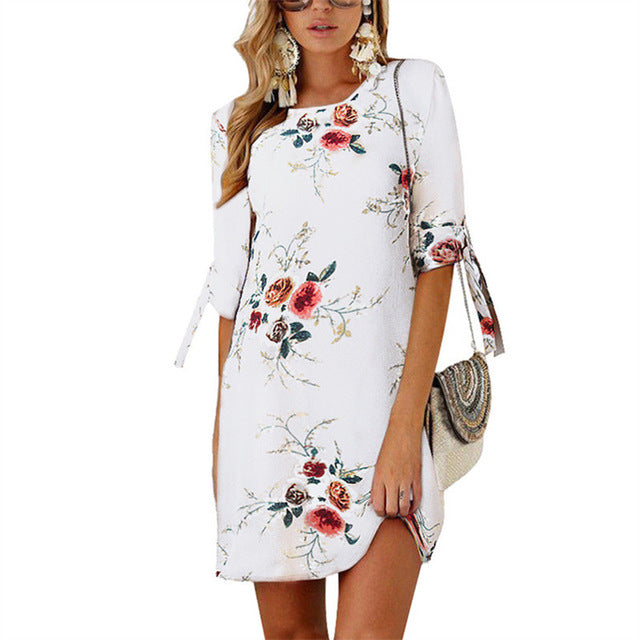 2019 Women Summer Dress Boho Style Floral Print Chiffon Beach Dress Tunic Sundress Loose Mini Party Dress Vestidos Plus Size 5XL-hipnfly-White-S-hipnfly