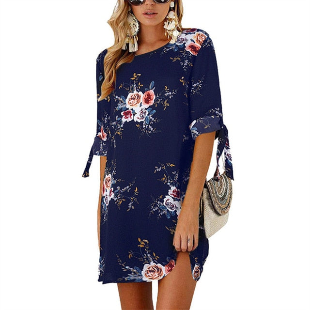 2019 Women Summer Dress Boho Style Floral Print Chiffon Beach Dress Tunic Sundress Loose Mini Party Dress Vestidos Plus Size 5XL-hipnfly-Navy Blue-S-hipnfly